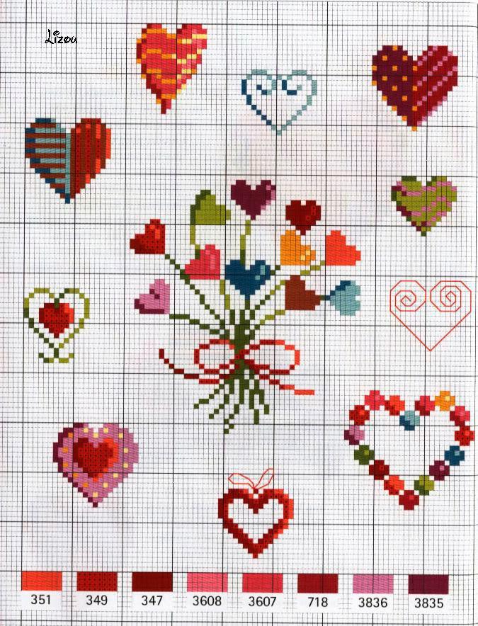 Коллекция схем сердечек для