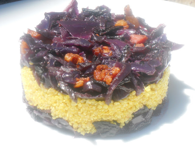 tortino di verza rossa e quinoia