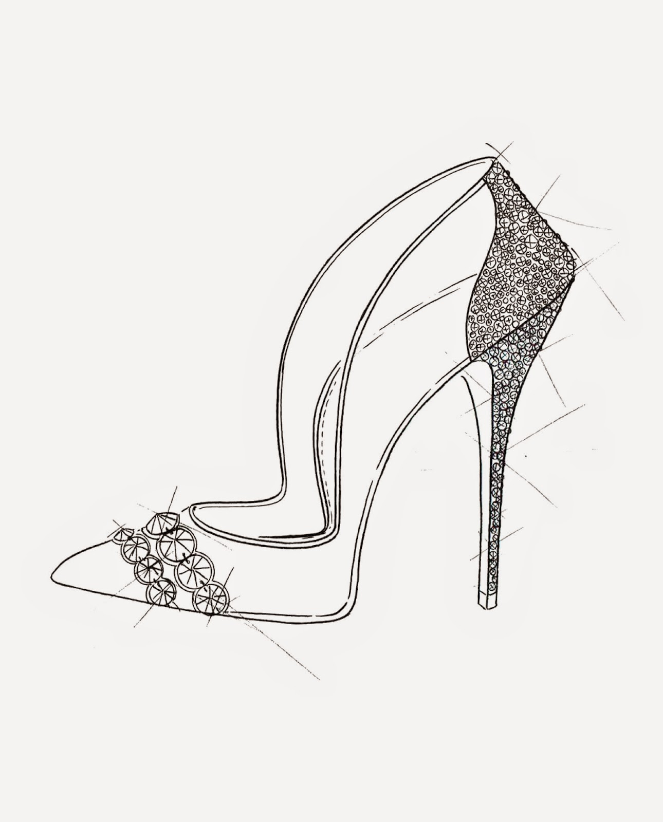 Paul Andrew Cinderella Glass Slipper Sketch