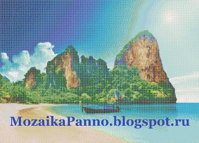 Картина из стеклянной мозаики «Море и горы»