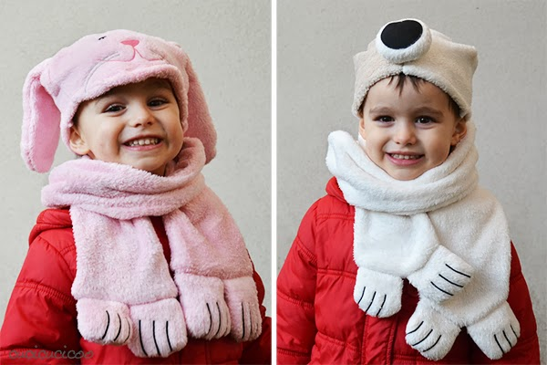 Sew an animal hat and scarf from a hooded towel set