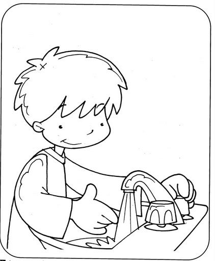 Dibujos para colorear de lavandose las manos - Imagui
