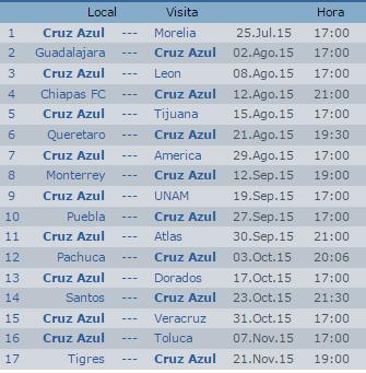 Calendario Cruz Azul Apertura 2015 Futbol Mexicano