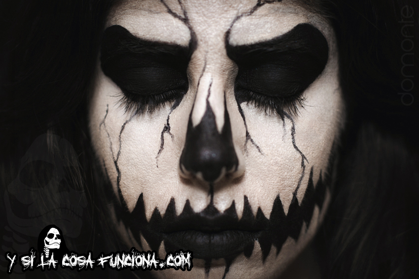 Pumpkin King Make Up Black White Girl Close Up Details