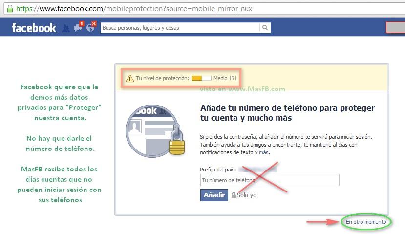 No dar el número a Facebook