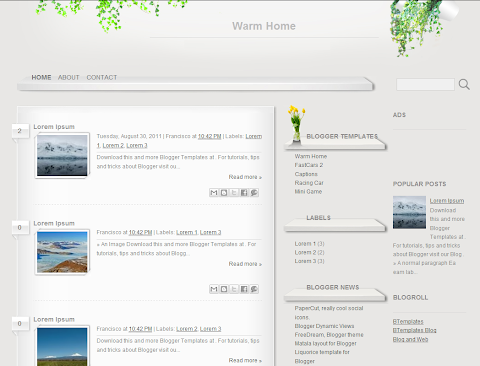 Warm Home Blogger Theme