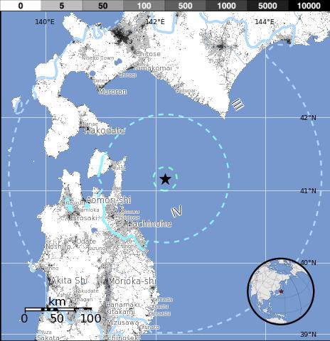 Epicentro sismo 6,1 grados en el Norte de Japón, 10 de Agosto 2014