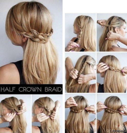 El primer peinado consta de dos trenzas al costado que van unidas por la  parte de atrás y llevadas hacia el otro costado, para esto solo necesitarás  unos