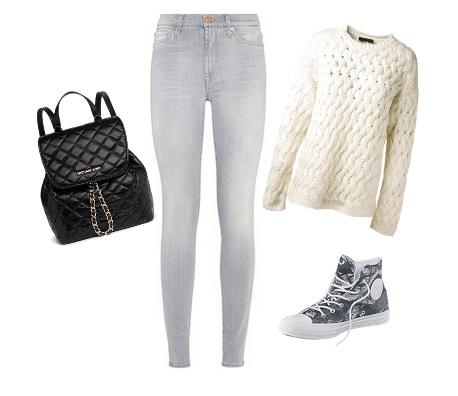 vaquero gris, jersey punto blanco, converse estampadas y mochila guateada negra