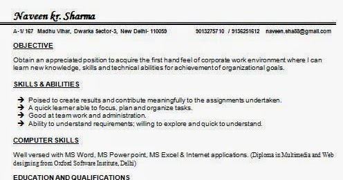 MCom Resume Samples for Freshers