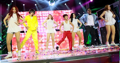 Jugs and Teddy with Bugoy Carino and the sexbomb dancers