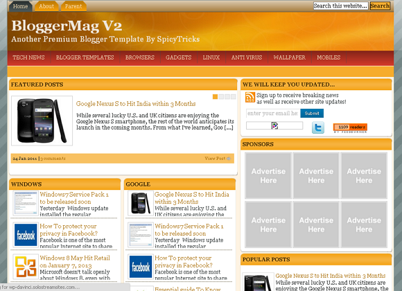 10 Best Free Blogger Templates for 2013 Download - SidusBlog - Tips ...