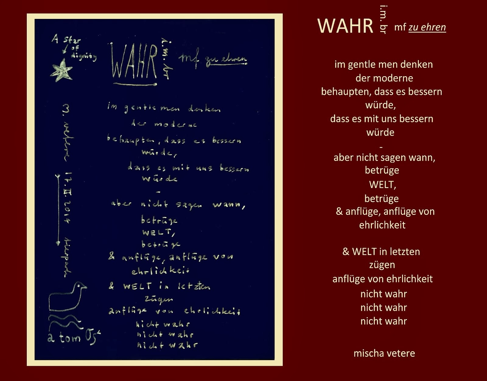 WAHR gedicht zu ehren von MAX FRISCH i.m. brecht gegen fälschung mf berlin journal peter von matt