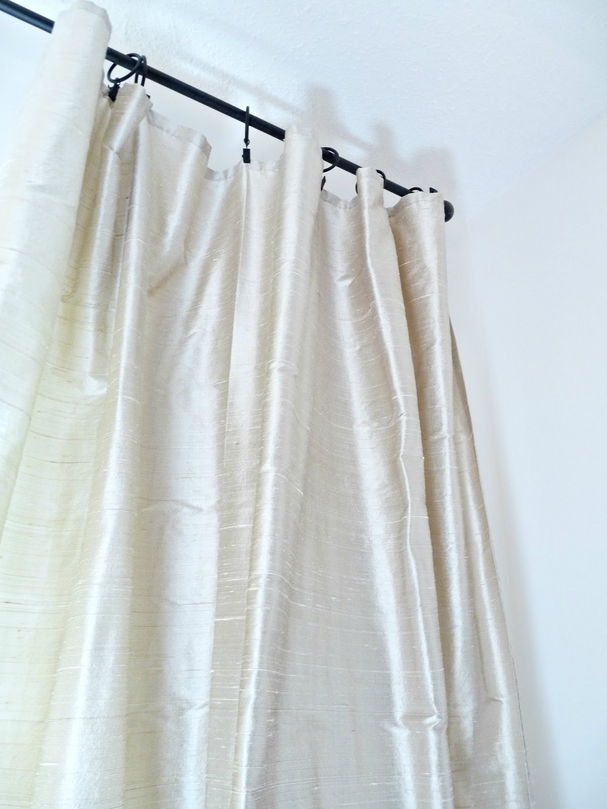 Beige silk curtains