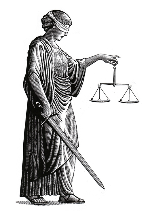06-Scales-of-Justice-Douglas-Smith-Scratchboard-Drawings-Through-Time-and-Lives-www-designstack-co