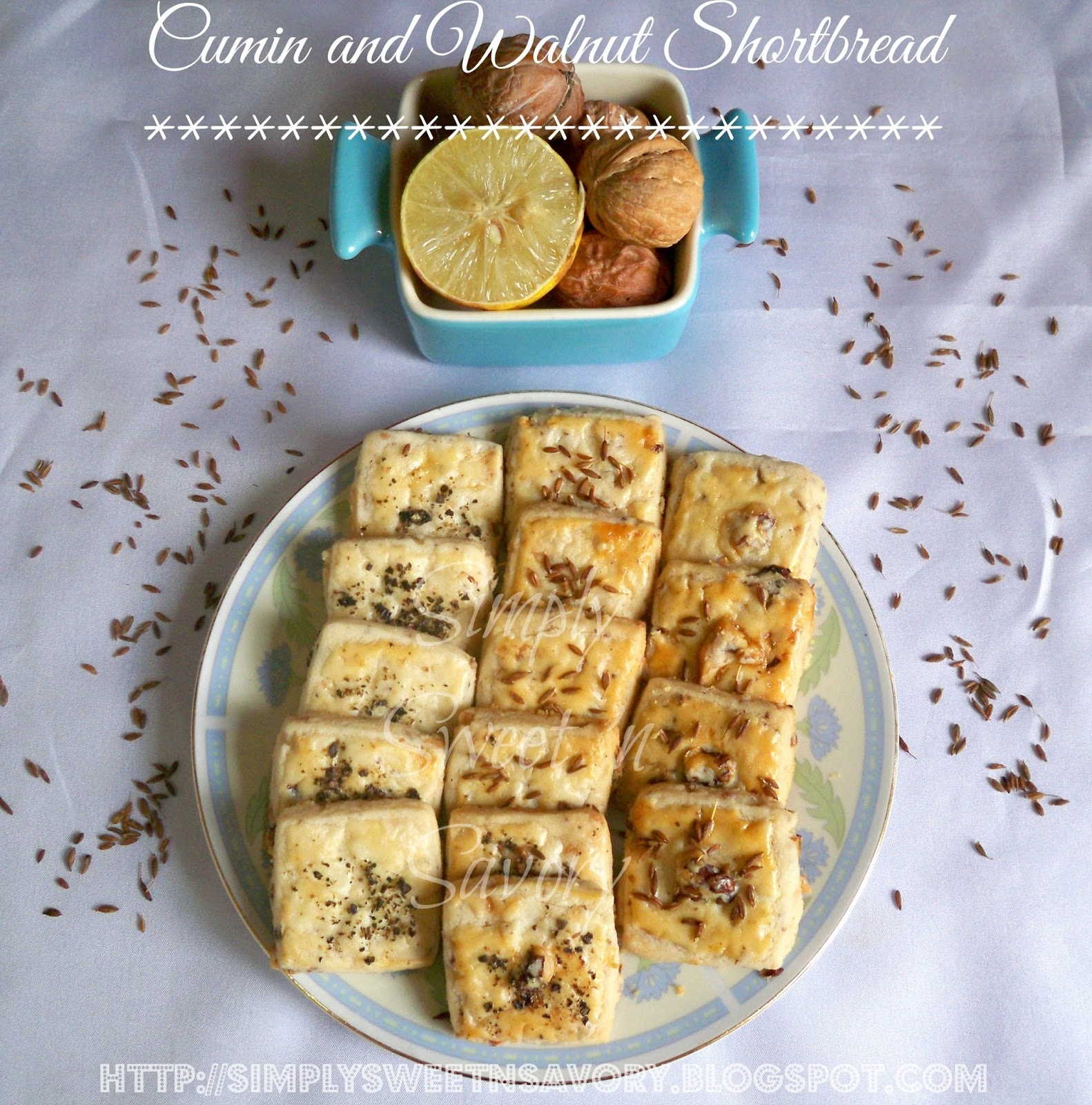 Simply Sweet 'n Savory: Cumin and Walnut Shortbread