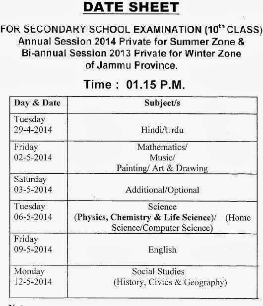 JKBOSE 10th Class Annual Private for Summer Zone & Bi-Annual Session 2013 Private for Winter Zone Date Sheet 2014
