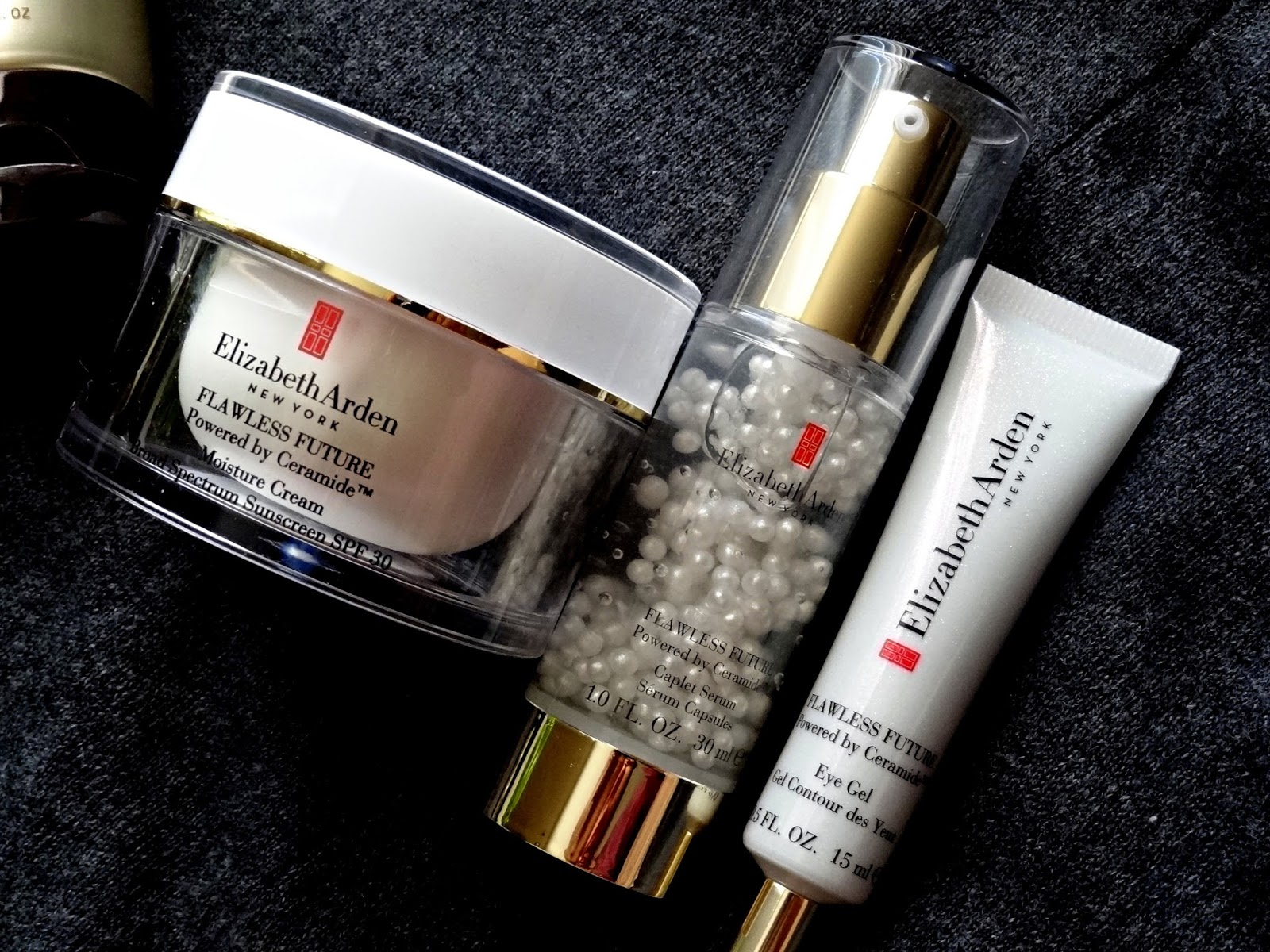 Elizabeth Arden Flawless Future Powered by Ceramide Day Cream, Caplet Serum and Eye Gel Review, Photos