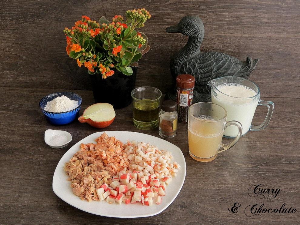 Croquetas de salmón, gambas, atún y palitos de cangrejo
