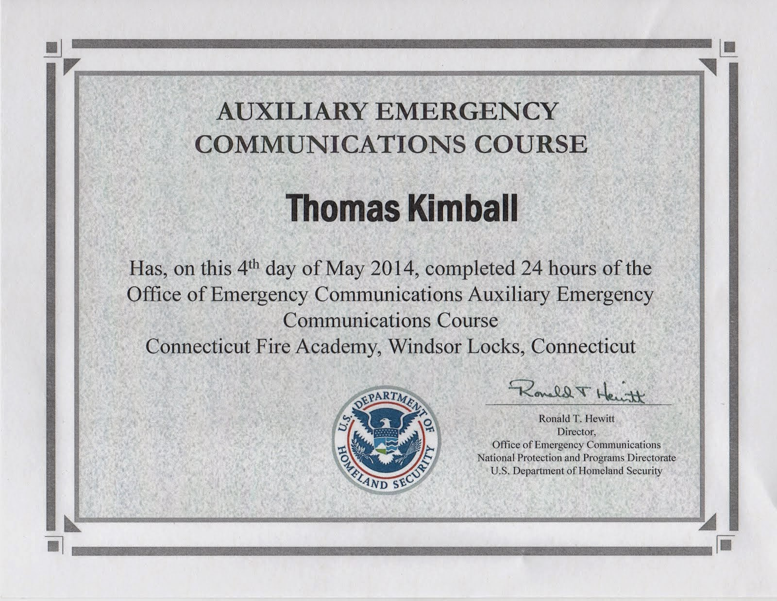 Auxiliary Emergency Communications (AUXCOMM) Course Certificate