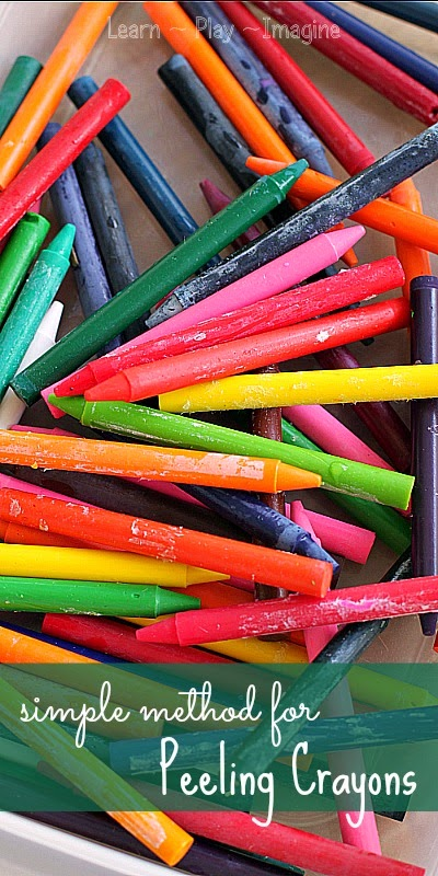 Peel crayons in seconds with this quick tip!  This simple trick makes peeling crayons a cinch.