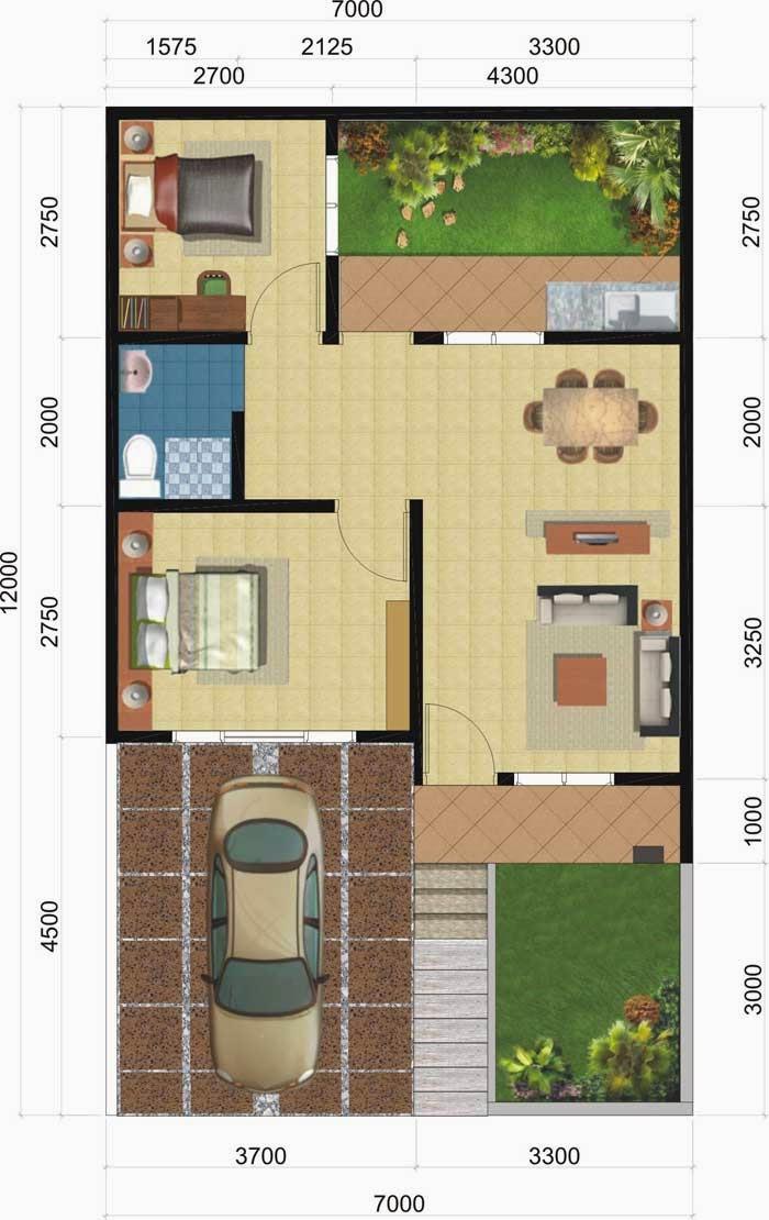 Contoh Denah Rumah Sederhana 1 Kamar