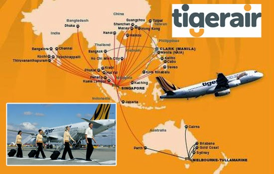 Các chuyến bay quốc tế của Tiger Airways Việt Nam