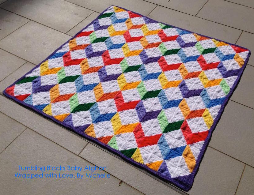 Tumbling Blocks Crochet Afghan Pattern Free : Crochet between worlds: PATTERN: Tumbling Blocks Baby Afghan