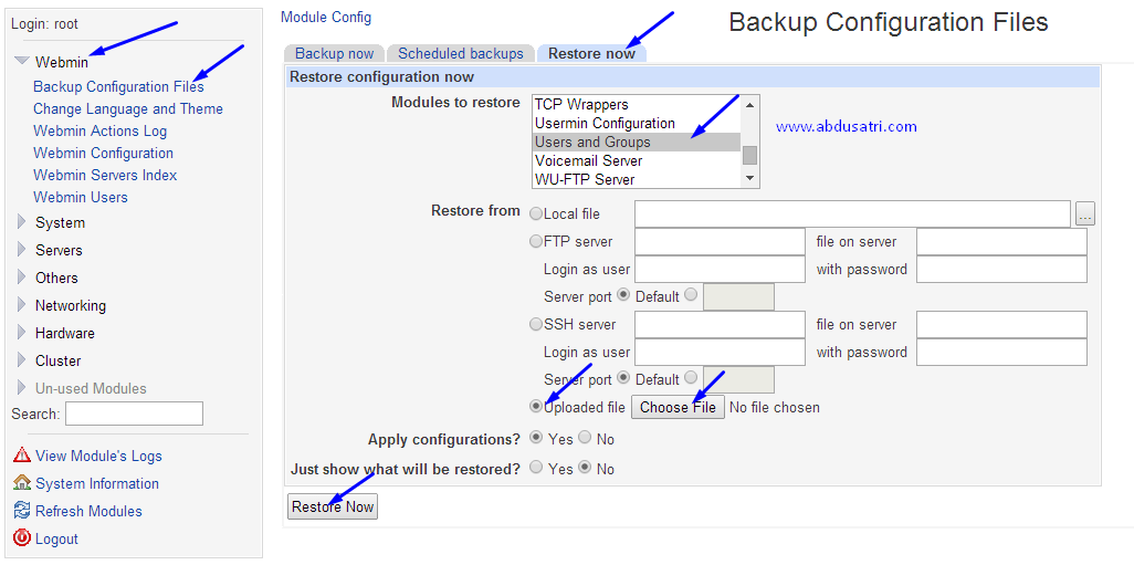 cara backup dan restore ssh di webmin