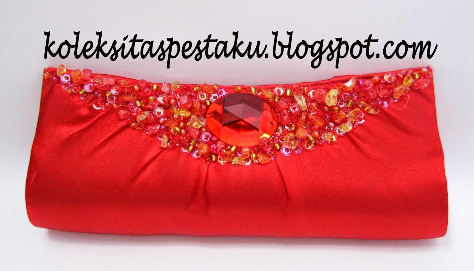 tas pesta merah cantik unik elegant model terbaru