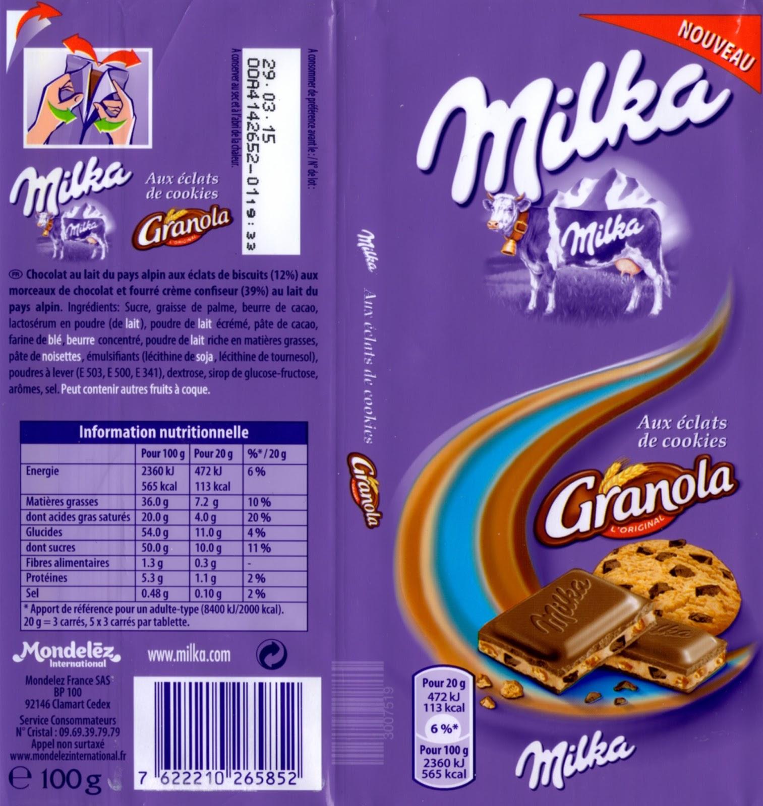 tablette de chocolat lait gourmand milka granola