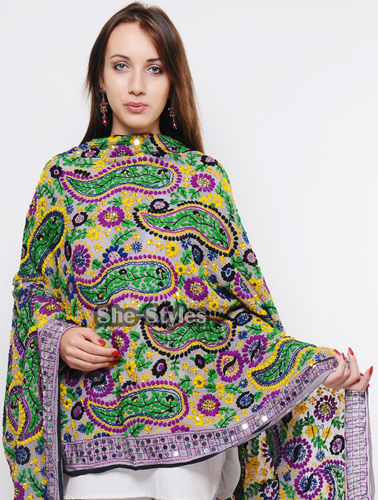 Embroidered dupatta designs phulkari aari