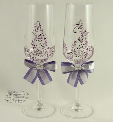 бокалы свадебные роспись