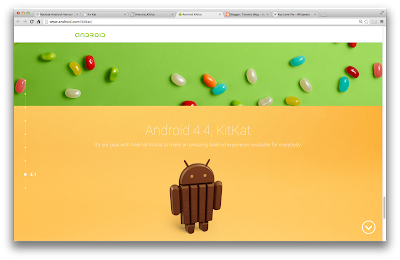 Screenshot von www.android.com/kitkat/