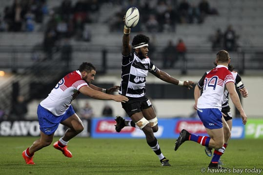 With ball: Sanaila Waqa, Hawke's Bay Magpies, rugby vs Horowhenua Kapiti, Ranfurly Shield challenge at McLean Park, Napier. photograph