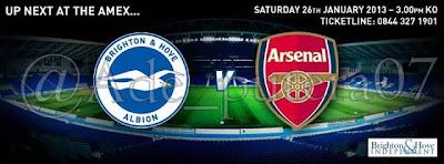 (Prediksi Brigton Albion VS Arsenal Piala FA Inggris (Sabtu, 26 Januari 2013)