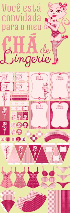 Ilustração e kit digital para CHÁ DE LINGERIE