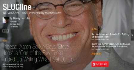 Screenwriter Aaron Sorkin on the cover a SLUGline, a Flipboard magazine for screenwriters presented by ScripTipps