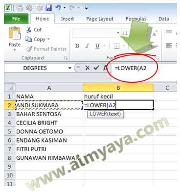 Gambar: Contoh Menggunakan Fungsi LOWER() di Microsoft Excel