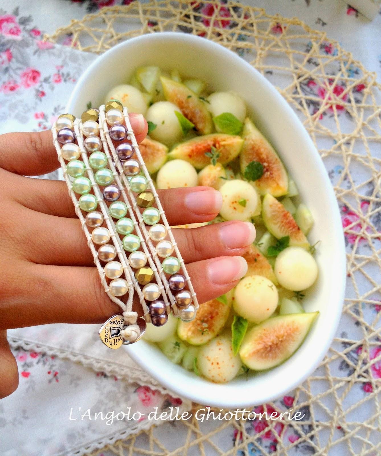 insalata di preziosi. con perle naturali di melone bianco e fichi taglio navette