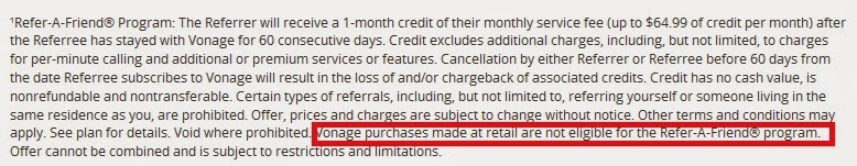 Vonage Referral Credit for Retail sign up