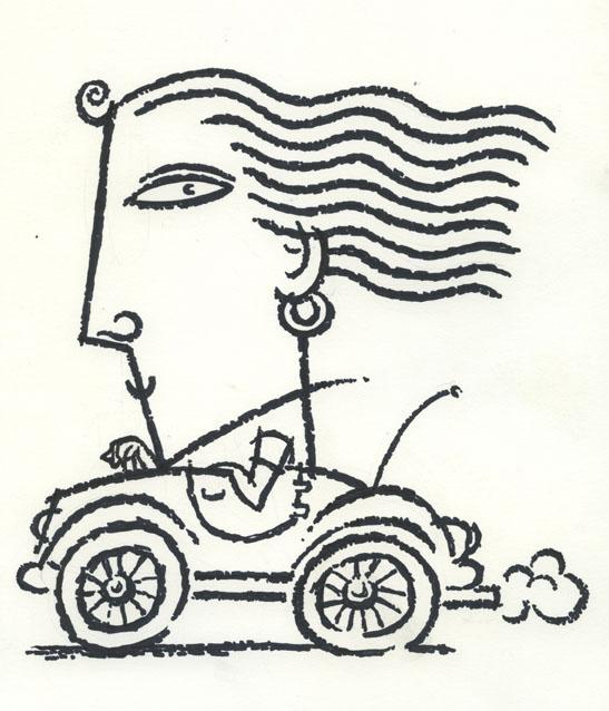 B+W Woman in Car