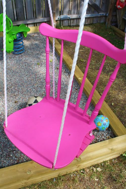 Antes y despu s de un columpio hecho con una silla baby deco for Silla columpio
