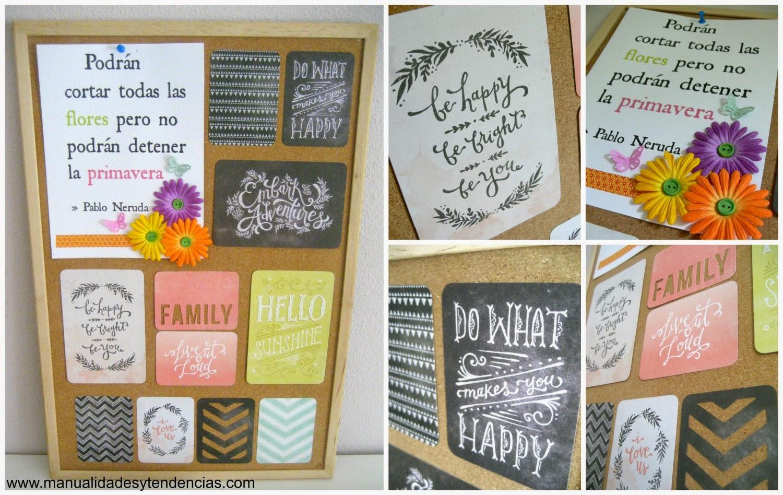 tablón de corcho con frases motivadoras