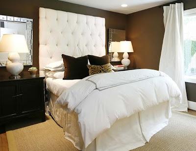dormitorio chocolate y blanco