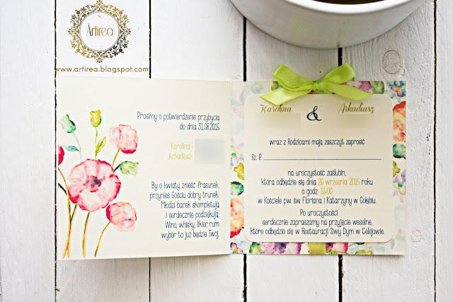 Oryginalne limonkowe zaproszenia ślubne Artirea