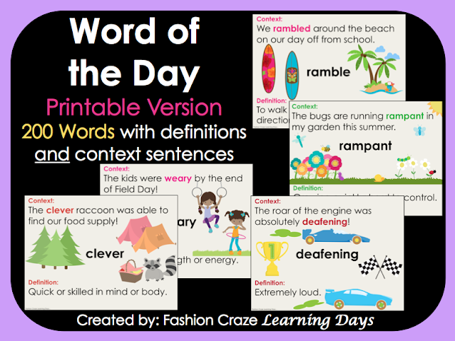 Printable Word of the Day Posters