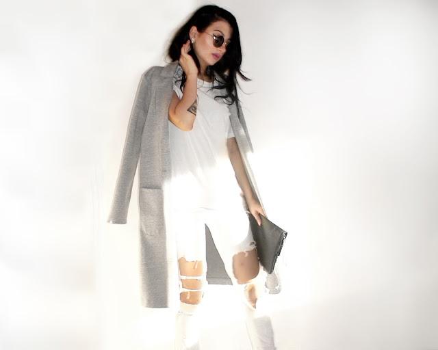 white grey minimal outfit ideas