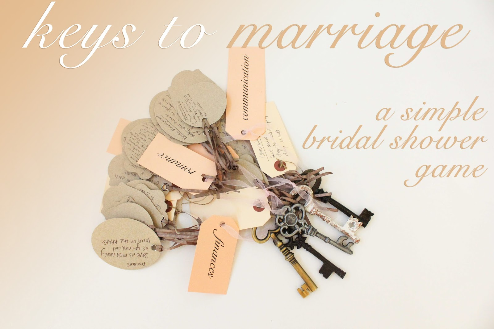 keys to marriage a simple bridal shower game