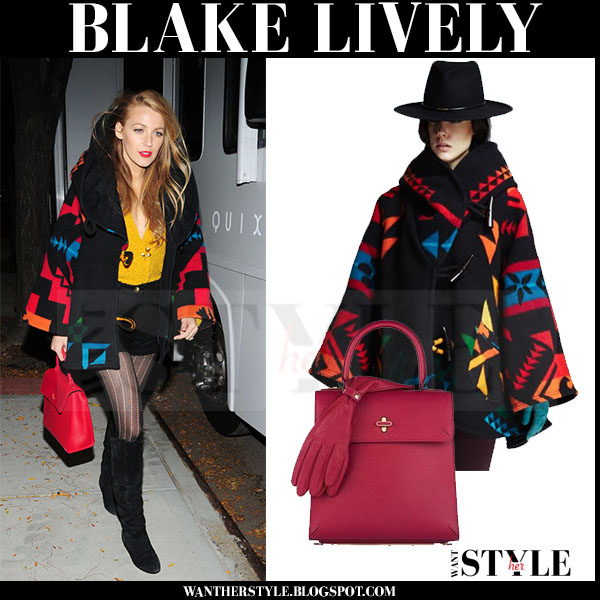 Blake Lively in black printed blanket poncho with red charlotte olympia bogart bag and suede boots what she wore